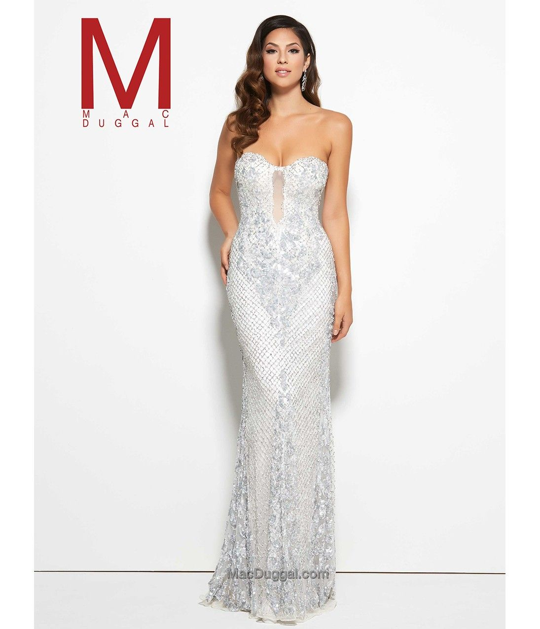 White diamond mermaid strapless beaded fitted long gown prom
