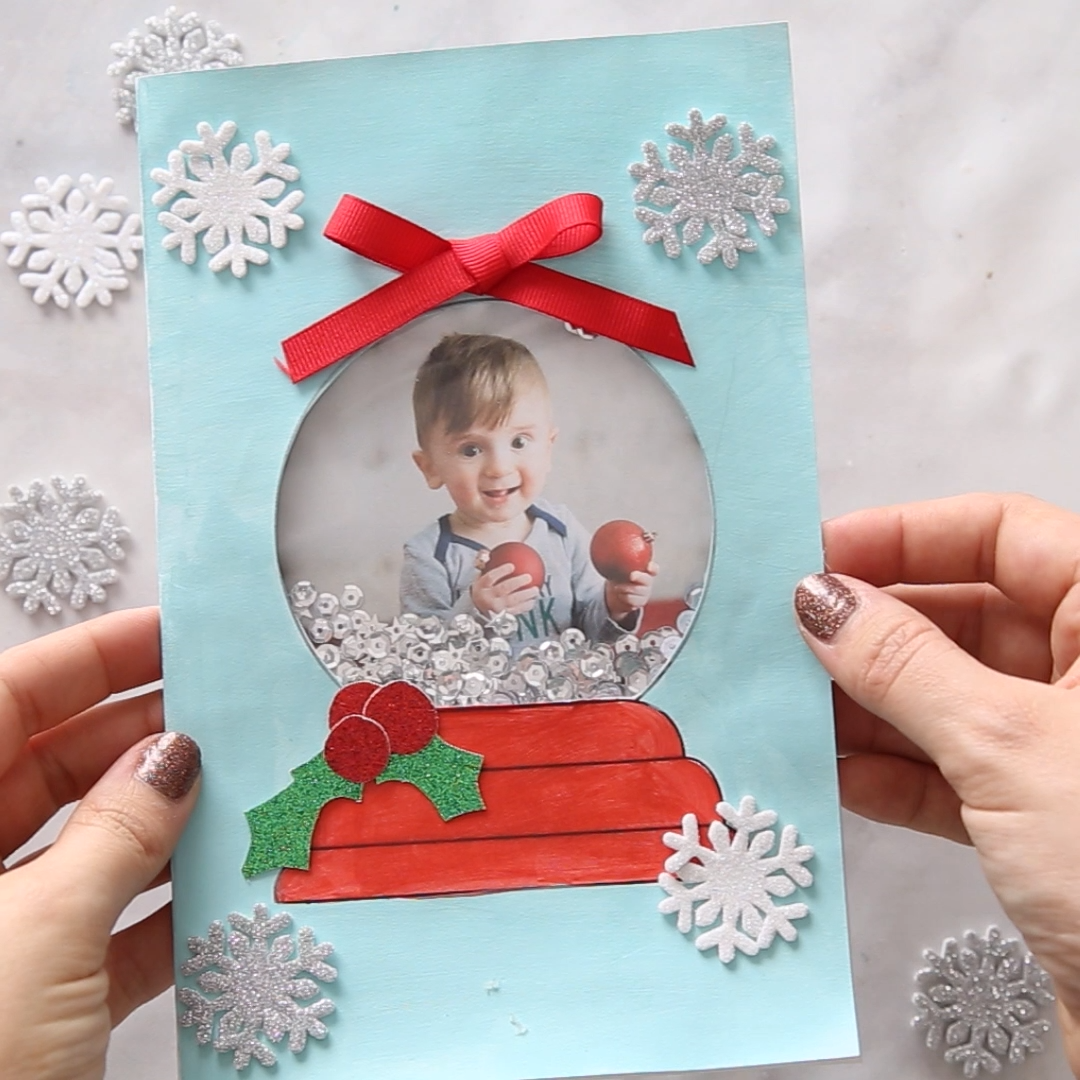 Snow Globe Template Card in 2020 | Christmas cards kids, Christmas cards handmade, Diy christmas cards