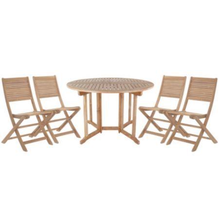 Roscana Teak Wooden 4 Seater Dining Set: Image 1