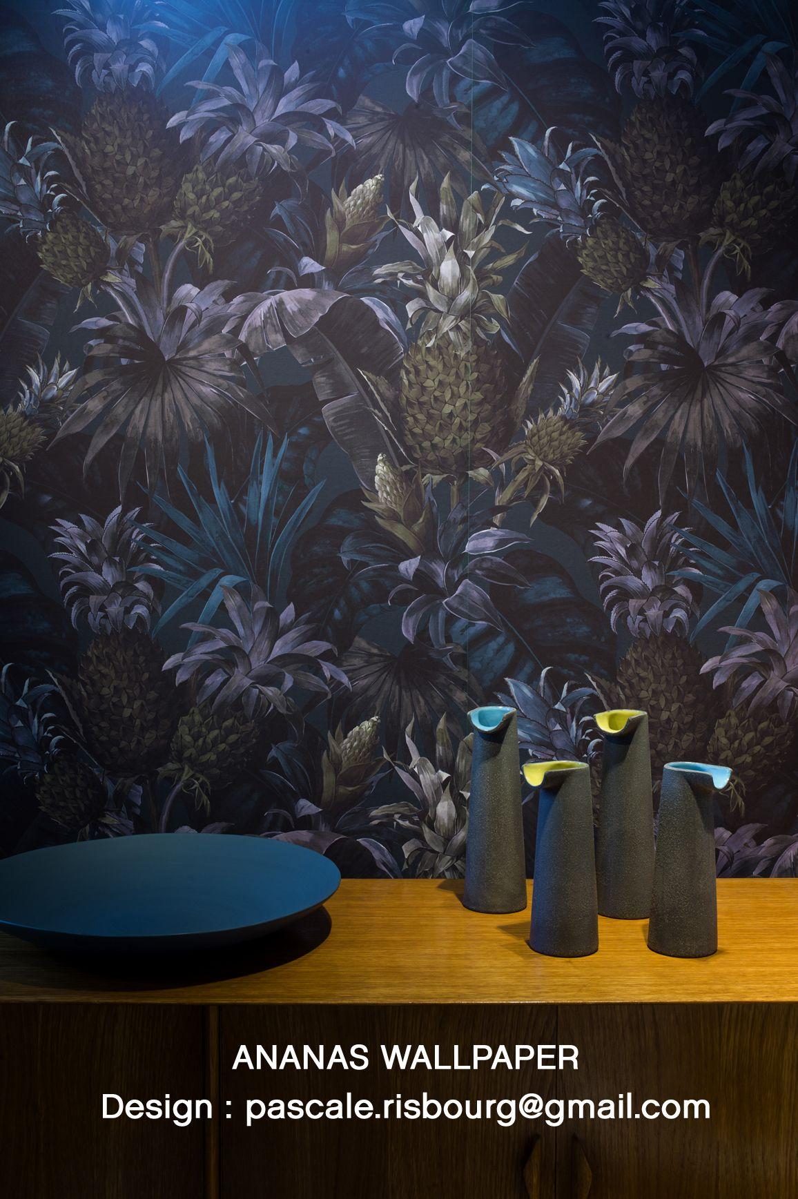 wallpaper ananas design pascale risbourg wallpaper collection papier peint peindre et design. Black Bedroom Furniture Sets. Home Design Ideas