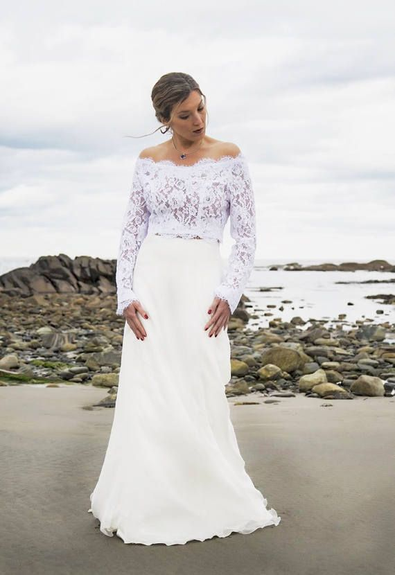 Affordable Bridal Separates Wedding Dress Crop Top And Tulle Skirt Bridal Tops Bridal Skirts White Lace Blouse Long Sleeve
