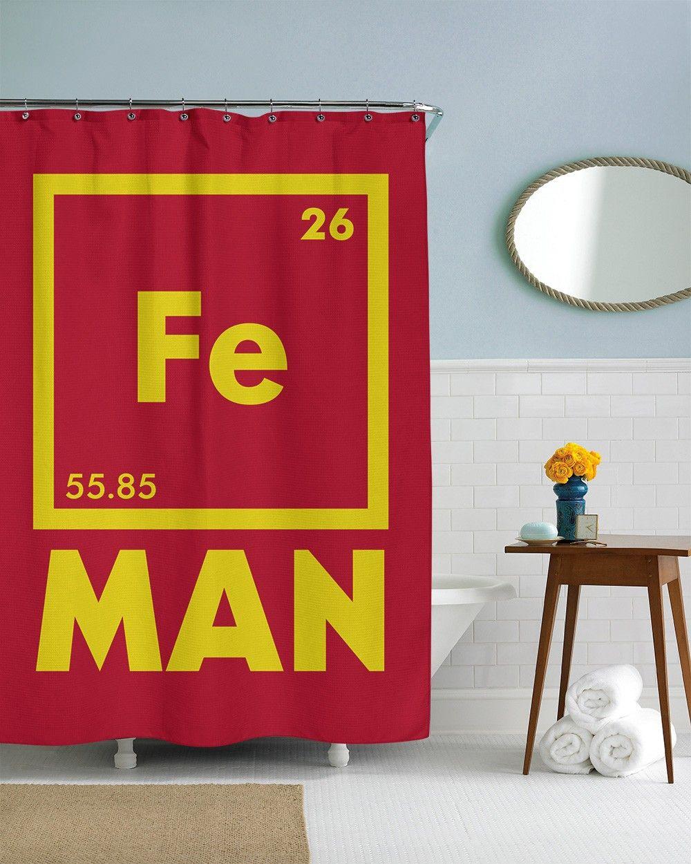The Element of Iron (Fe) Man Shower Curtain   CrazyDog T-shirts ...