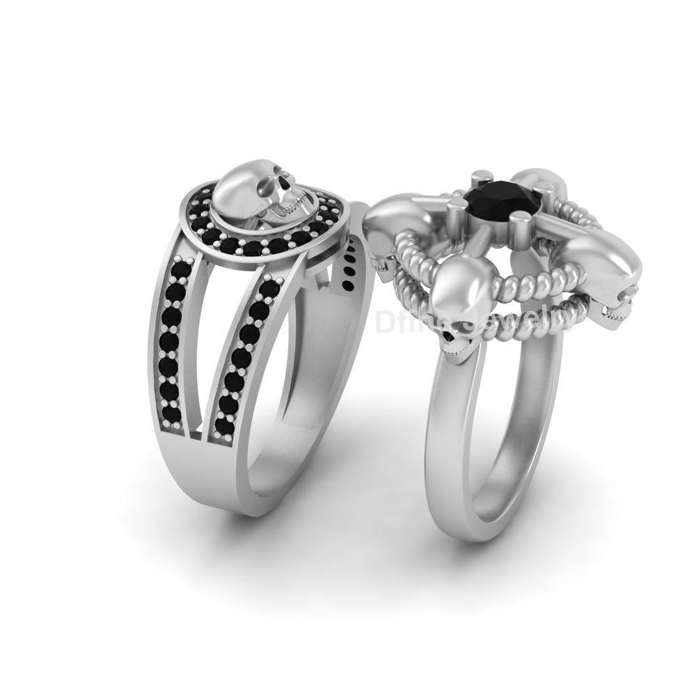 Black Onyx Wedding Ring 2pc Matching Set Anniversary Gift Set Couple