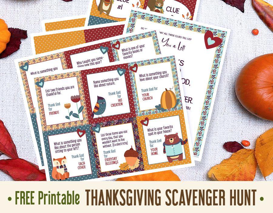 Thanksgiving Scavenger Hunt for Kids Free Printable