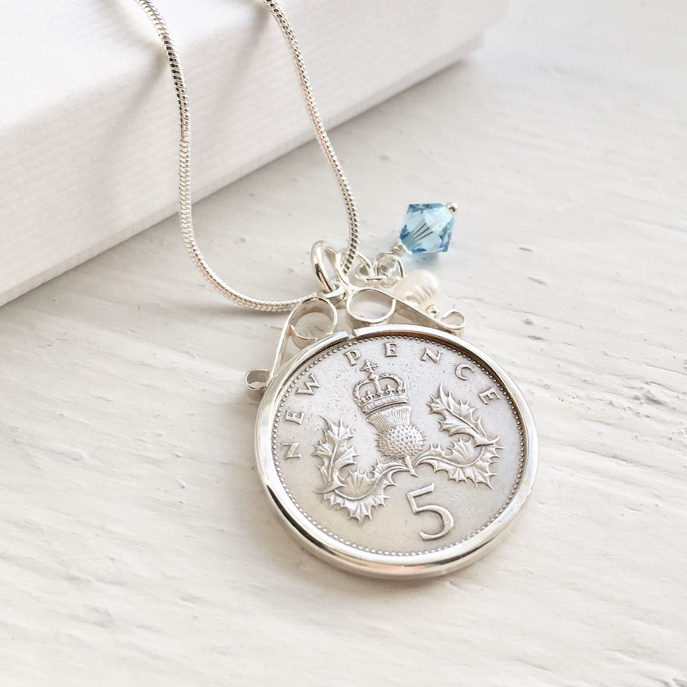 1968 five pence coin pendant 50th birthday gifts for