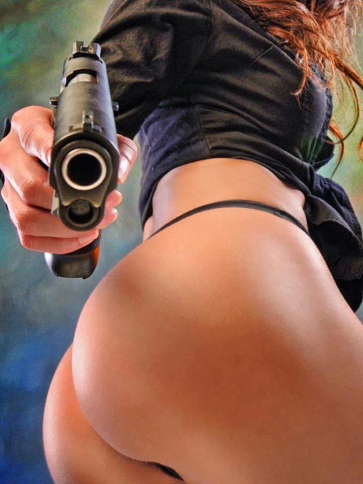 bad ass girls naked shooting guns