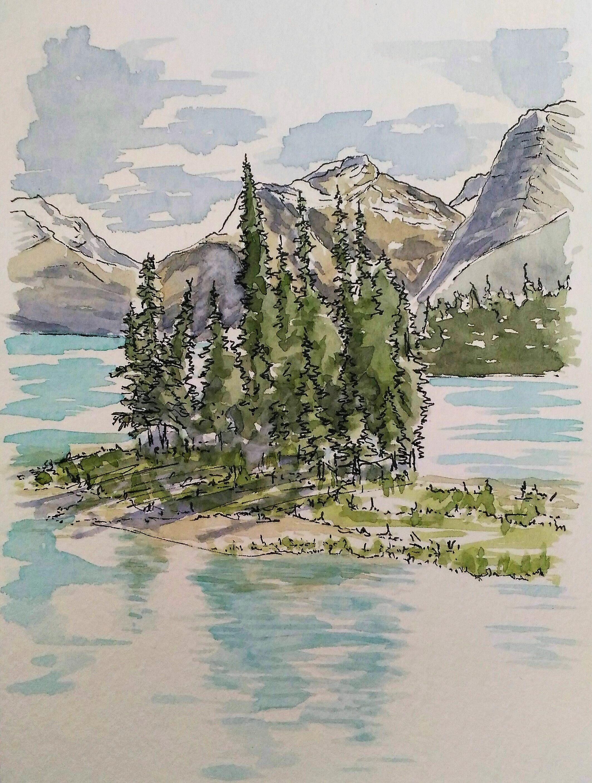 Spirit Island Maligne Lake Jasper National Park Alberta Canada