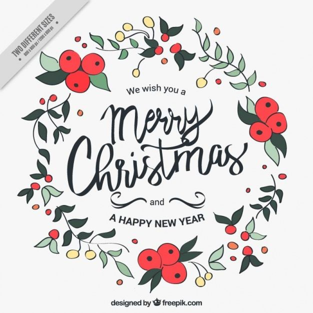 merry christmas and new year background with hand drawn floral wreath free vector