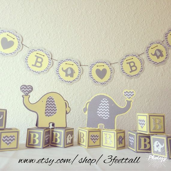 Elephant Baby Shower Decoration Package By 3feettall On Etsy The