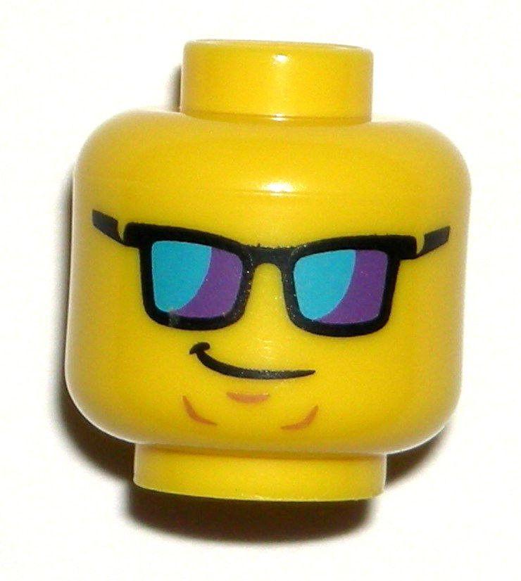 LEGO Yellow Surfer MINIFIGURE HEAD Lifeguard Sunglasses 71007 ...