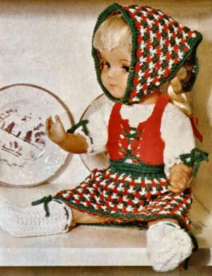 16 inch Tyrolean Doll Clothes Vintage Knitting Pattern for download