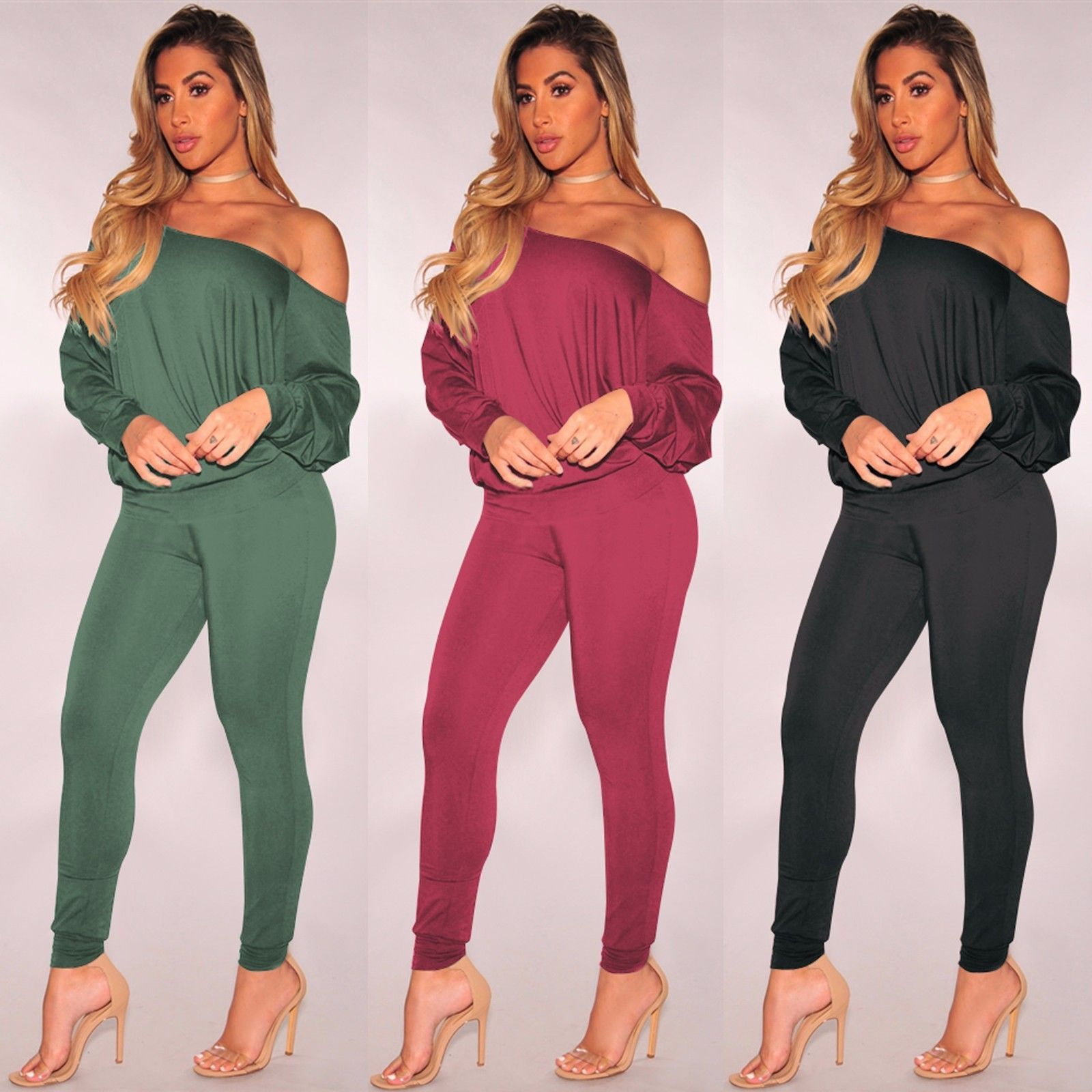 8b1953a134f  13.99 - Women One Shoulder Long Sleeves Bodycon Clubwear Long Club Party Jumpsuit  Romper  ebay  Fashion