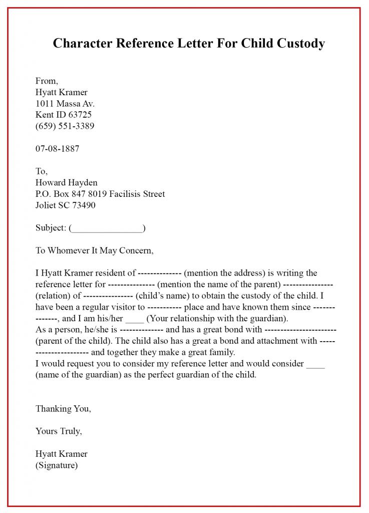 Custody Letter Sample