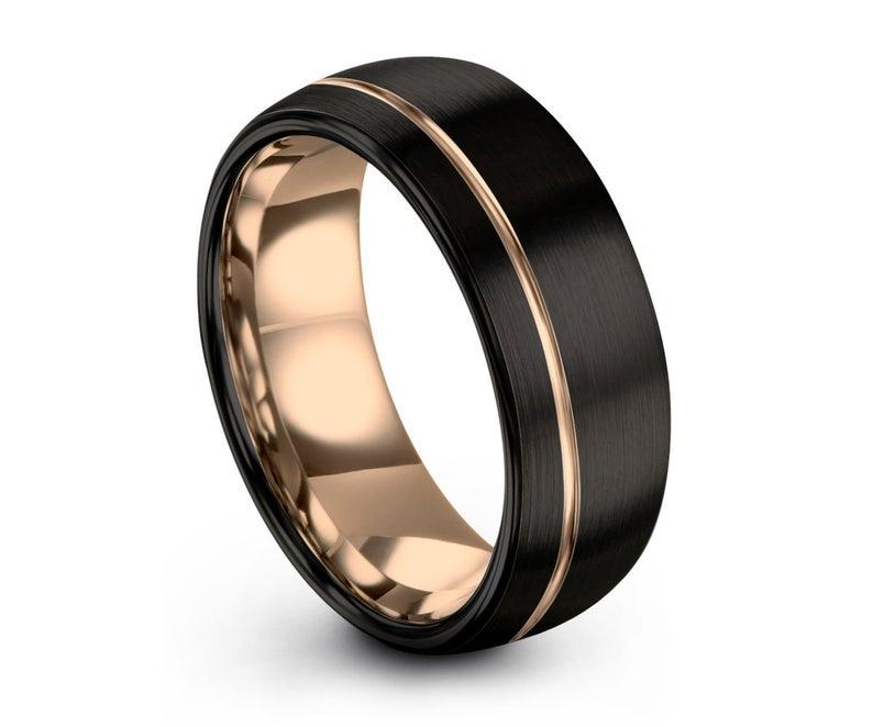 Mens Wedding Band Black Rose Gold Wedding Ring Tungsten Ring Etsy In 2020 Mens Wedding Bands Black Mens Wedding Rings Gold Mens Wedding Bands Tungsten Carbide