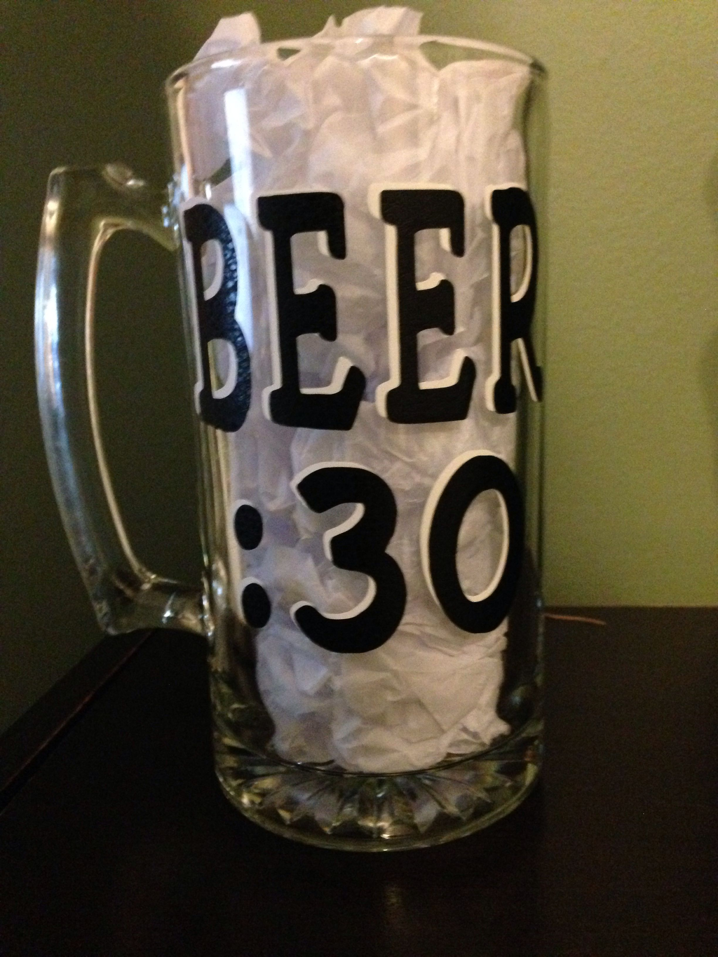 Beer Mug With Vinyl Lettering I Made These Pinterest