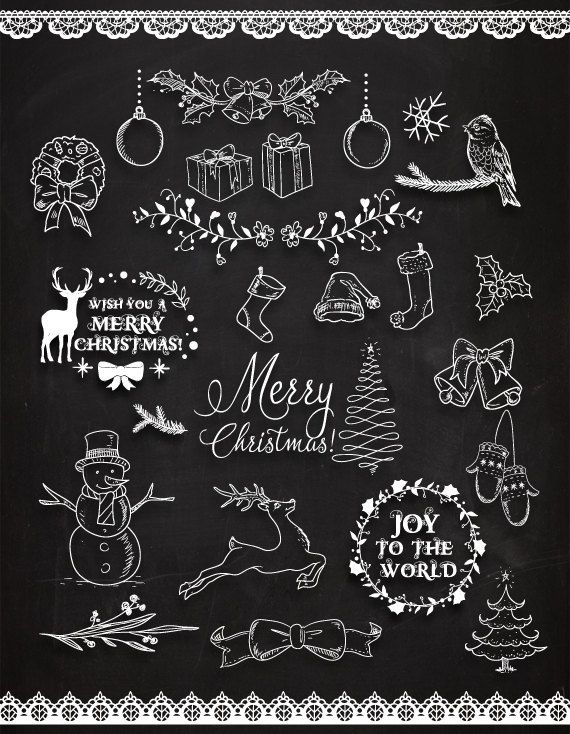 Photo of Chalkboard Christmas Doodles ClipArt Christmas Clipart. Christmas frames, Christmas deer. 300 dpi. Eps, png files. Instant download.