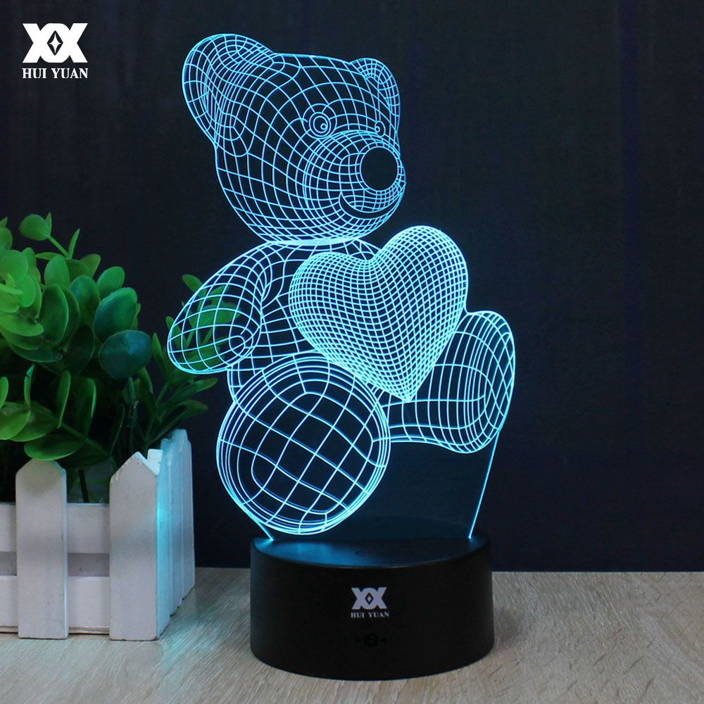 Teddy Bear Kitty Cat 3d Lamp Love Romantic Night Light Led Decorative Table Lamp Usb Colorful Color Change Girlfriend Gift With Images Night Light Color Led