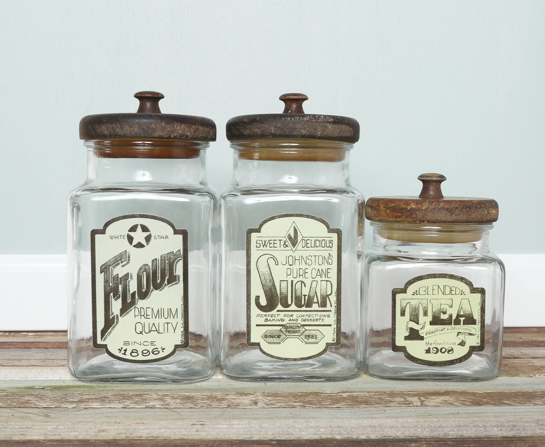 Vintage Glass Flour Tea Coffee Canister Jar Set Wood Lid Apothecary ...
