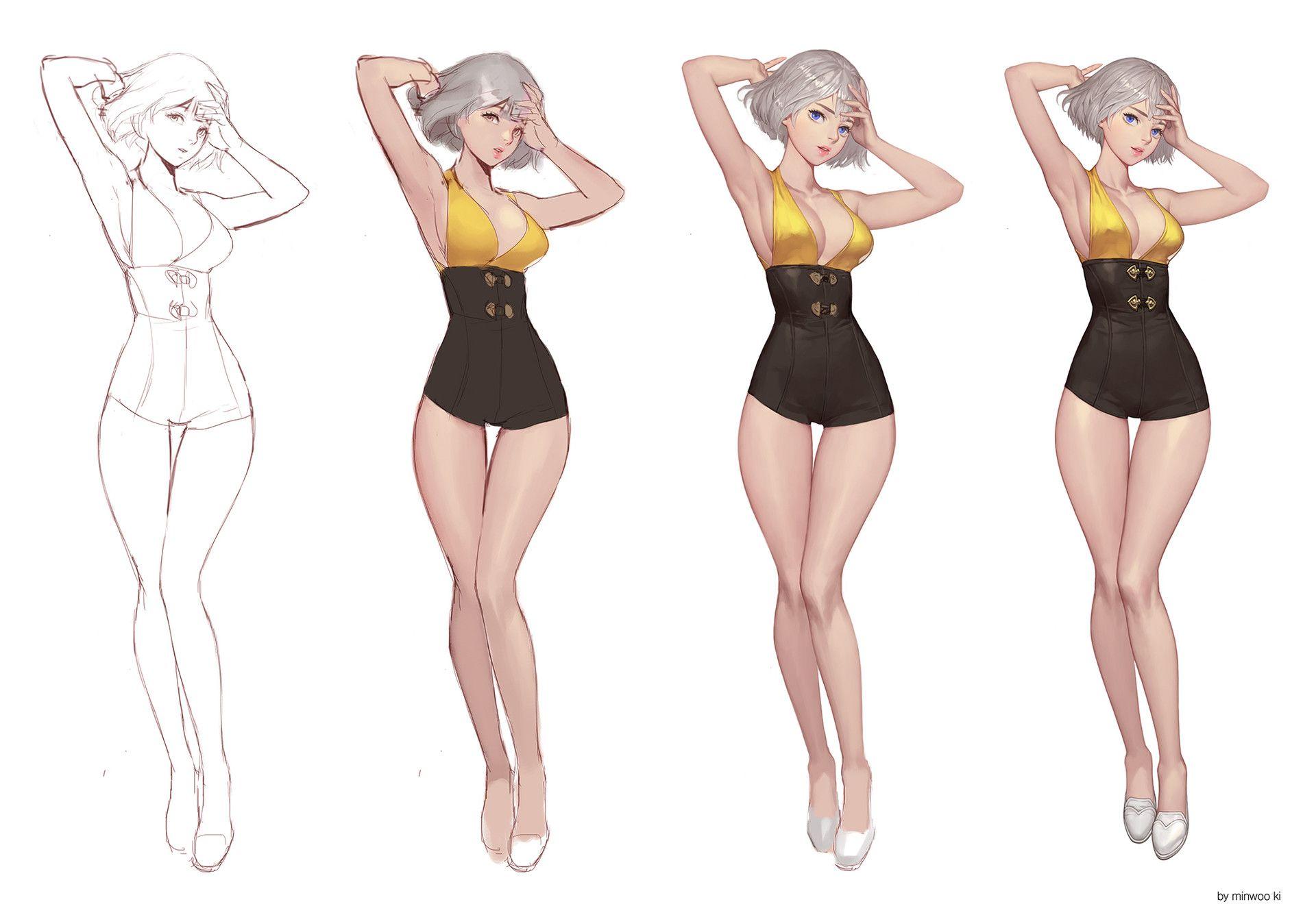 Artstation Character Drawing Ki Minwoo Character Drawing Female Character Design Character Design