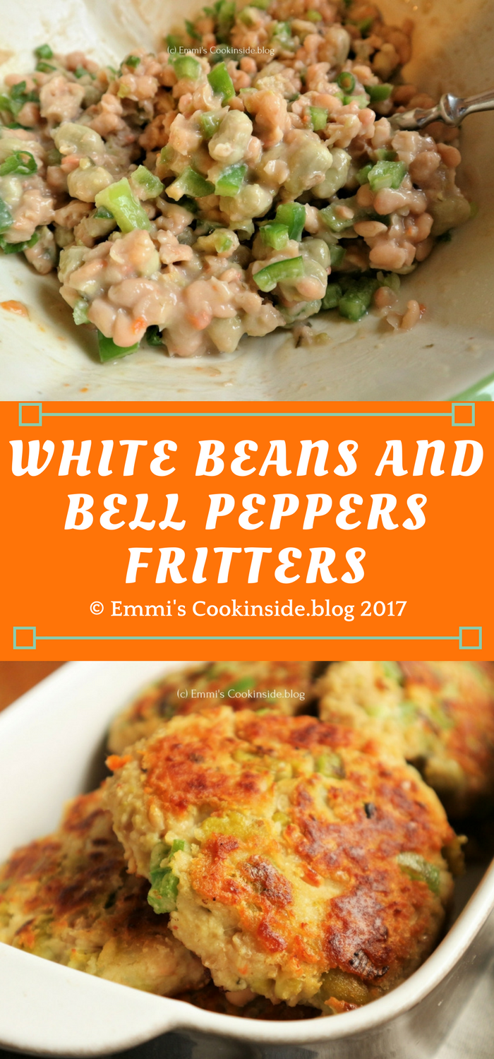 White beans and bell peppers fritters ! Perfect patties for vegetarian burgers, easy ingredients like white beans, onions, bell pepper, chickpea flour, parmesan and herbs. Easy recipe!