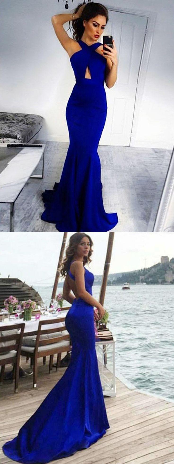 Elegante Meerjungfrau rückenfrei Royal Blue Prom Kleider mit