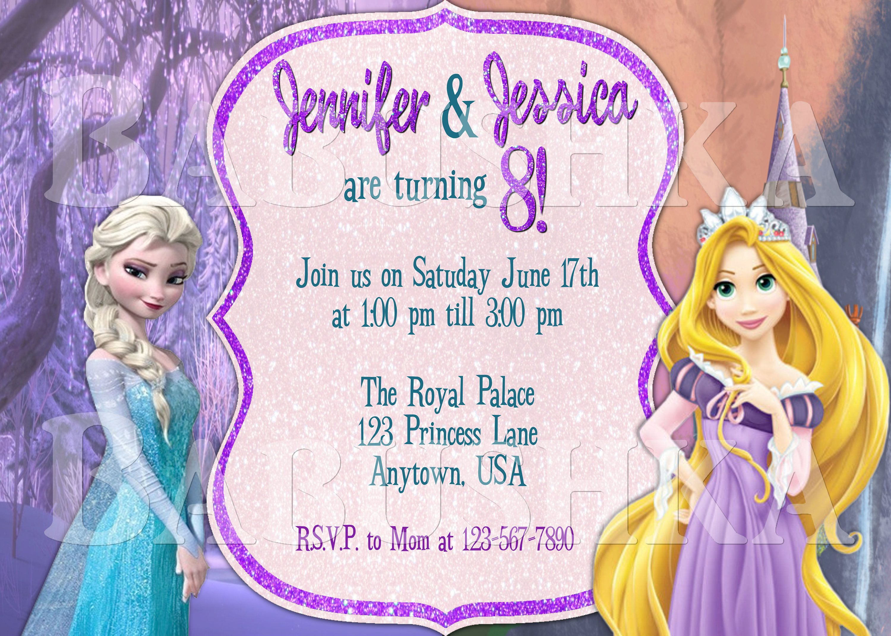 Elsa and Rapunzel Twins or Double Birthday Invitation Frozen and
