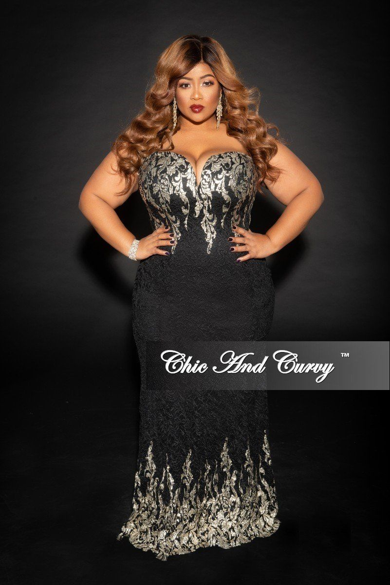 6d35eec1a02d9 Plus Size BodyCon Strapless Lace Gown with Deep V in Black – Chic And Curvy