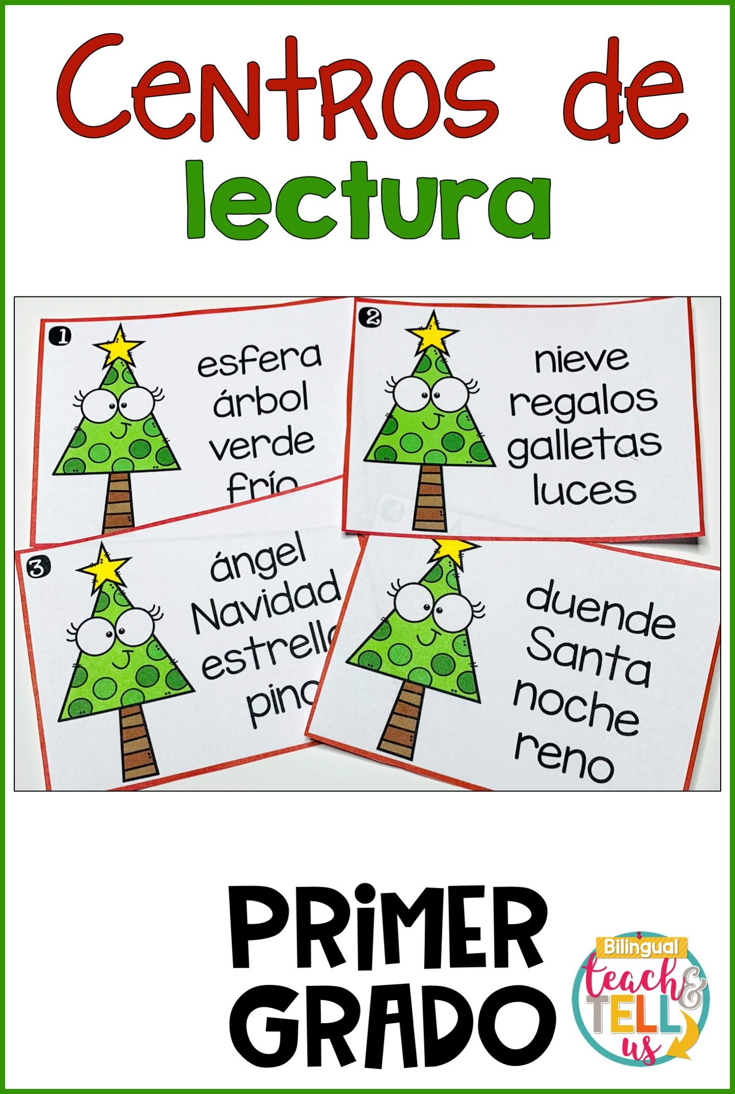 First Grade Literacy Centers Spanish December Centros De