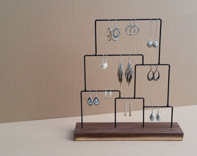 Earring Display Stand Organizer Holder Steel Jewelry Wood Product 125