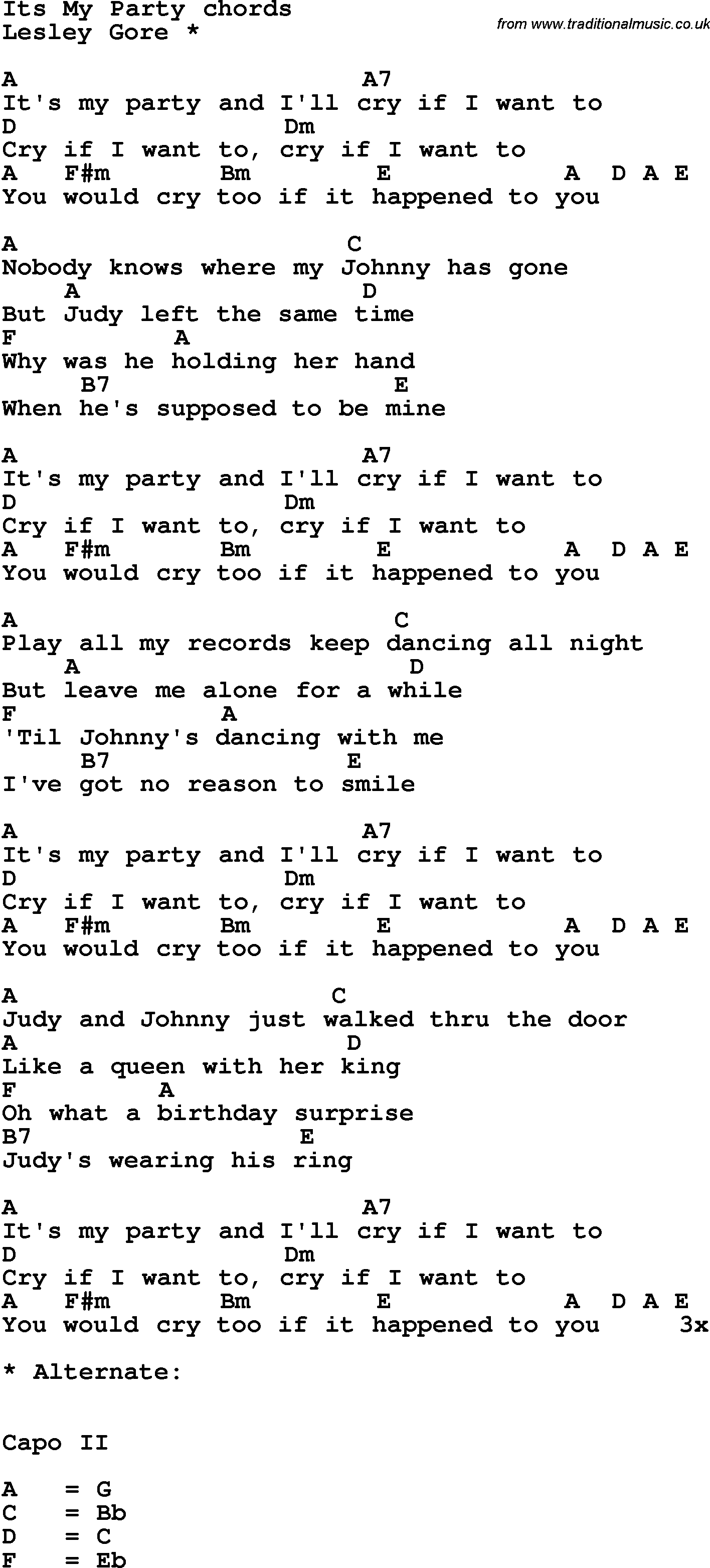 Song Lyrics With Guitar Chords For It S My Party In 2020 Songs Great Song Lyrics Silly Songs