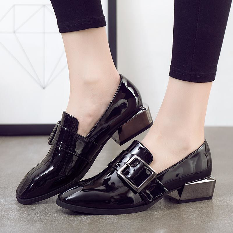 >> Click to Buy << Spring and autumn japanned leather square toe buckle british style plus size 40 - 43 women's shoes thick heel single shoes  #Affiliate