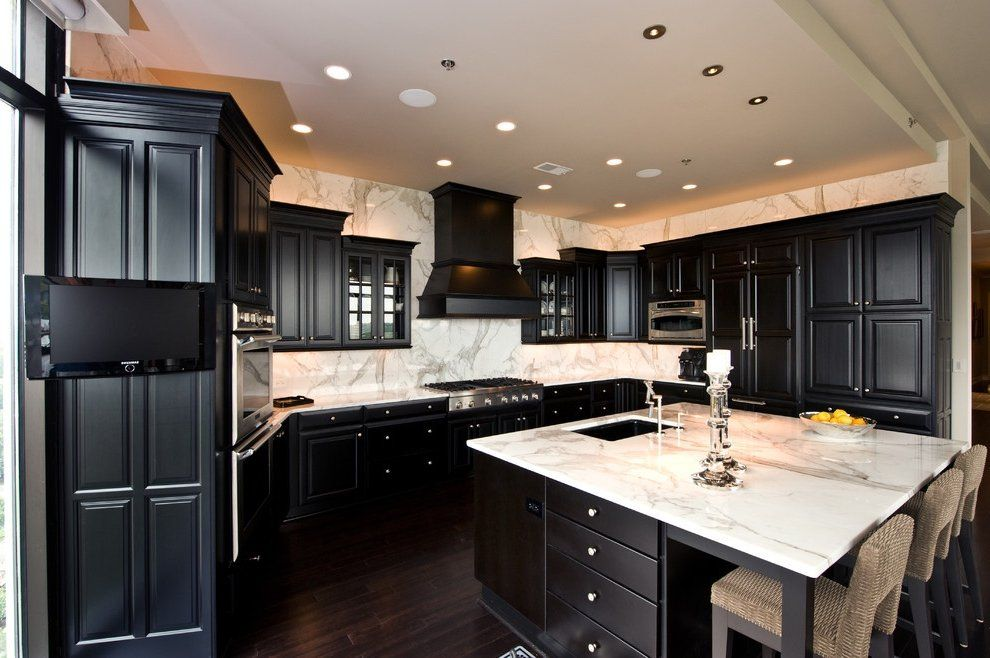 Best Picture Of Dark Kitchen Cabinet With White Countertop 400 x 300