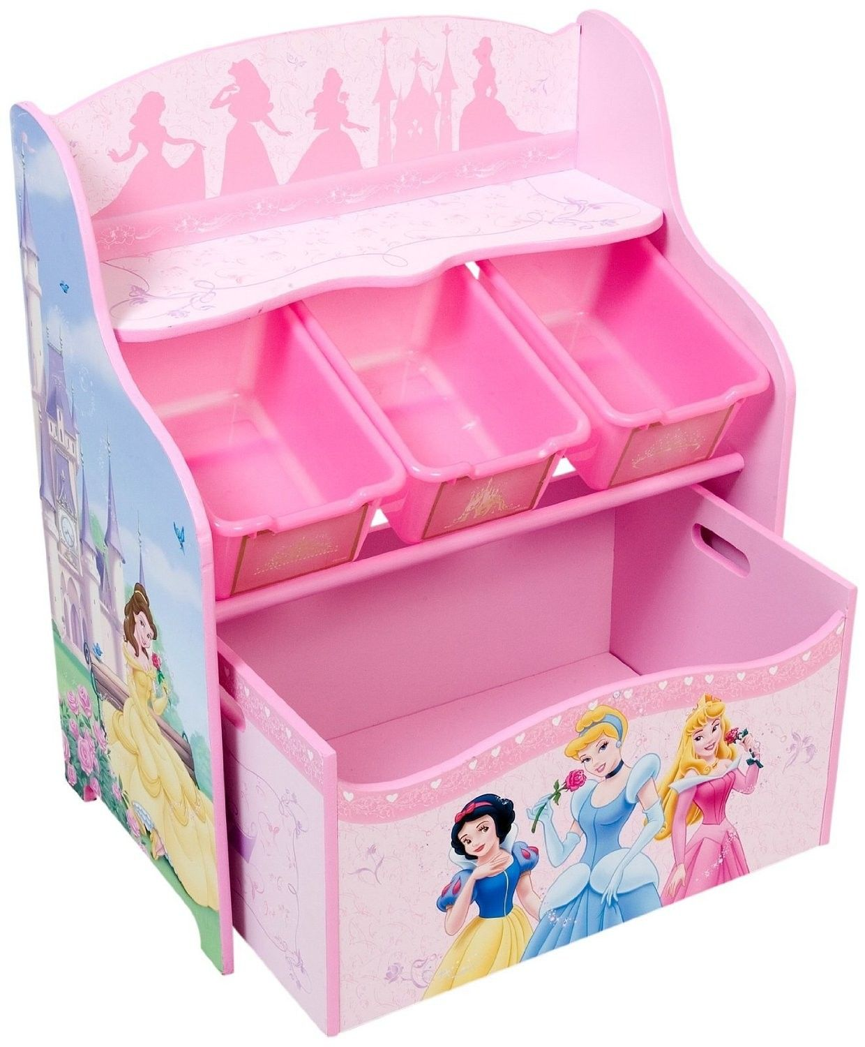 Disney Princess 3 Tier And 3 Bin Organizer With Roll Out Toy Box