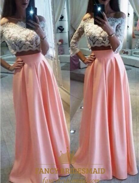 47dcef135444 FancyBridesmaid.com Offers High Quality Off The Shoulder 3/4 Sleeve Two  Piece Long Prom Dress With Lace Bodice,Priced At Only USD $133.00 (Free  Shipping)