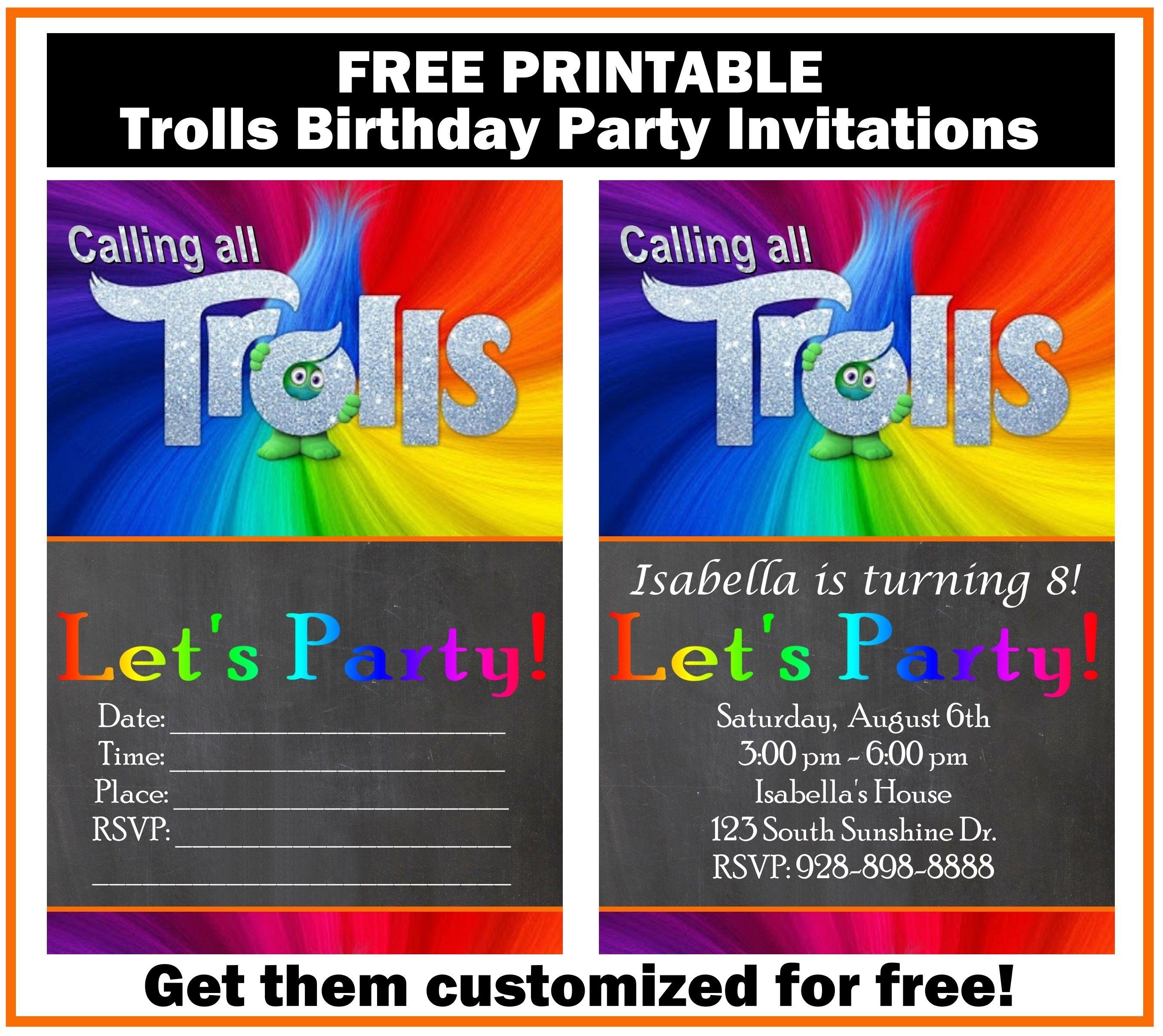 Free Trolls Birthday Party Invitation Printables | Trolls birthday ...