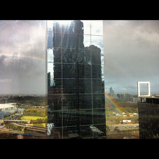 Reflections of a rainbow, Melbourne.  Submitted by: @mcdomatt  May 14, 2012