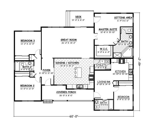 Plan 969 4 bedroom 3 bath 2278 sqft mother daughter for Mother daughter house plans