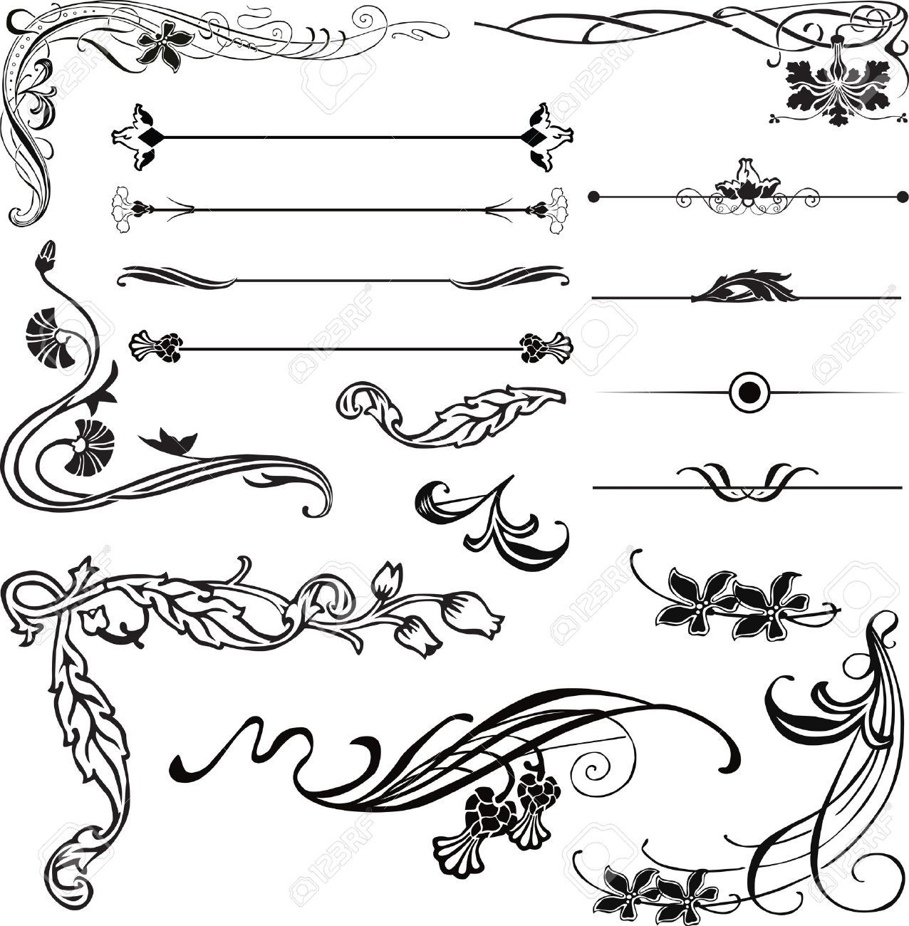 Straight Line Modern Art : Art nouveau ornament corners and dividers stock