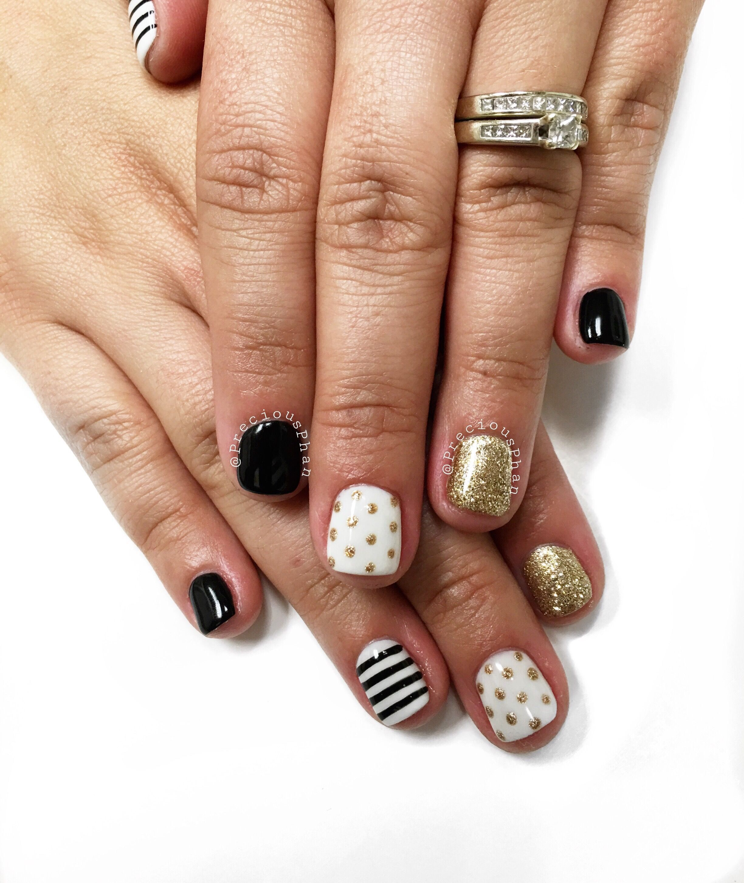 Toe Nail Designs White And Gold Graduation Black White And Gold