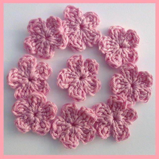 9 Small Crochet Flower Applique Embellishments Flower Applique