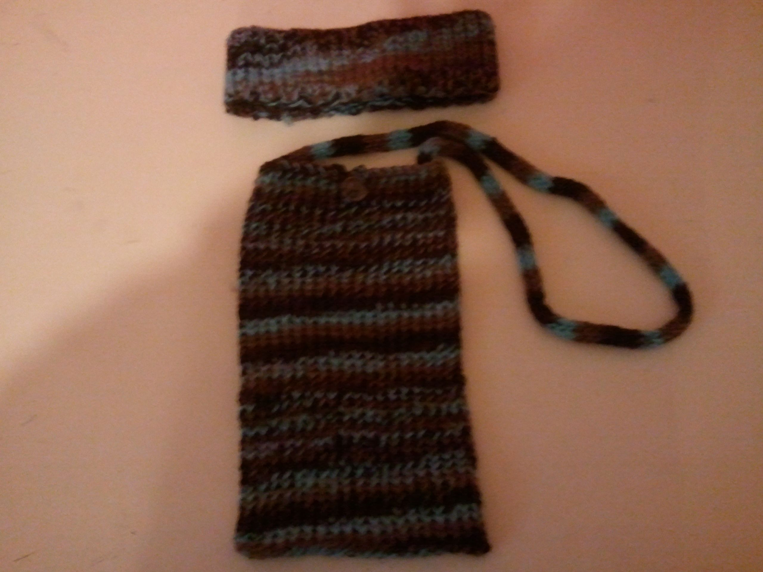 loom knitted earwarmers and purse