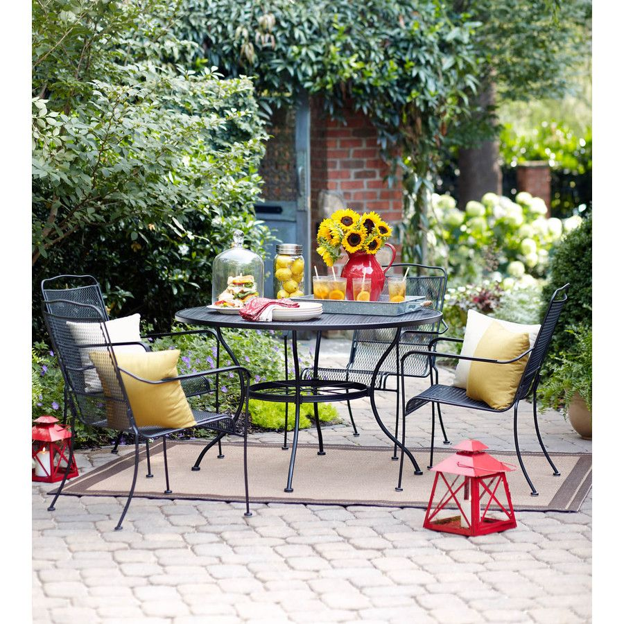 Garden Treasures Davenport Black Round Patio Dining Table ... on Lowes Outdoor Living id=28587