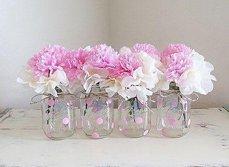 Rosa lunares tarro de masón centros de mesa tarros de masón baby - centros de mesa para baby shower