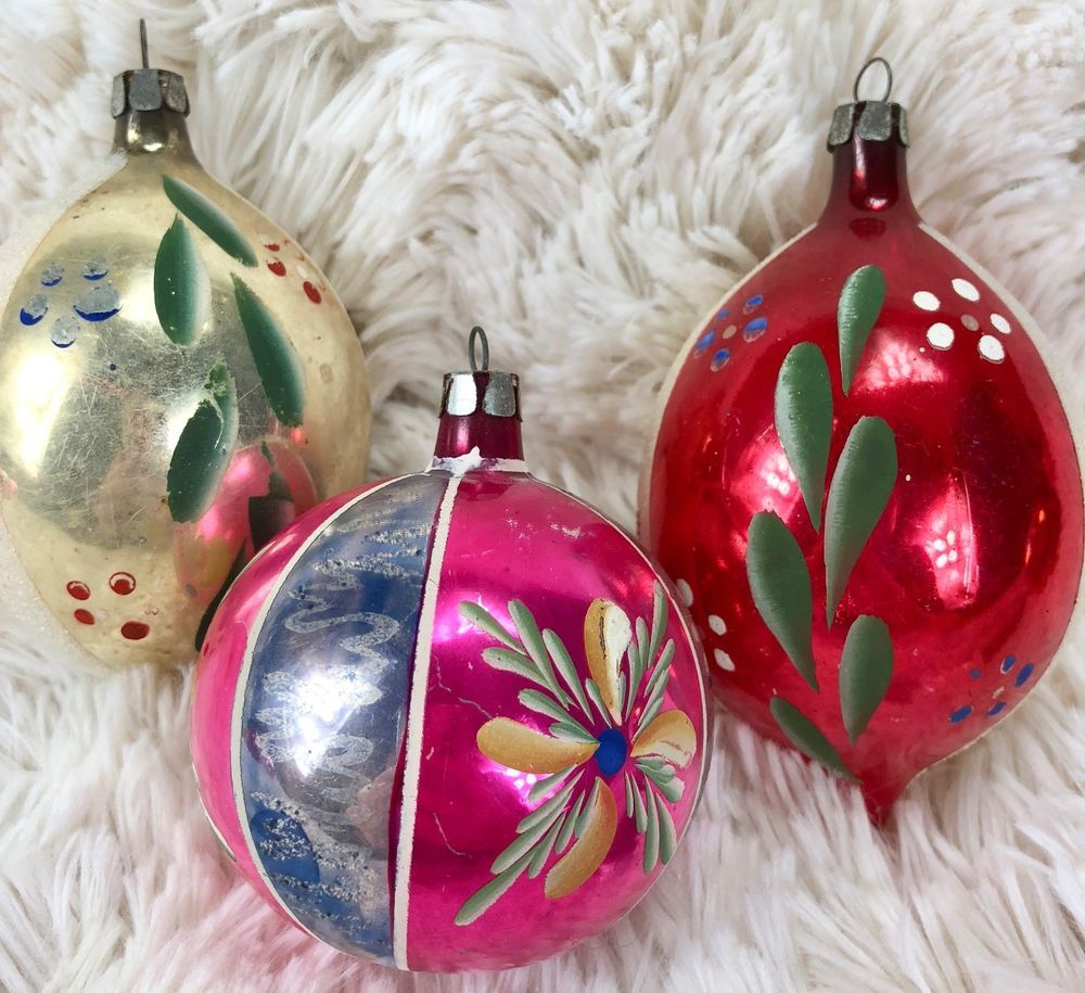 Vintage Christmas Ball Ornaments Mercury Glass Hand Painted Teard