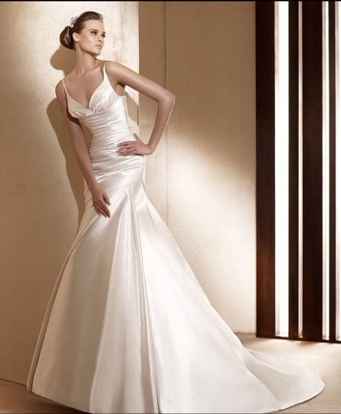 Gorgeous A Line Spaghetti Straps Floor Length Chapel Train Satin Wedding Dresses