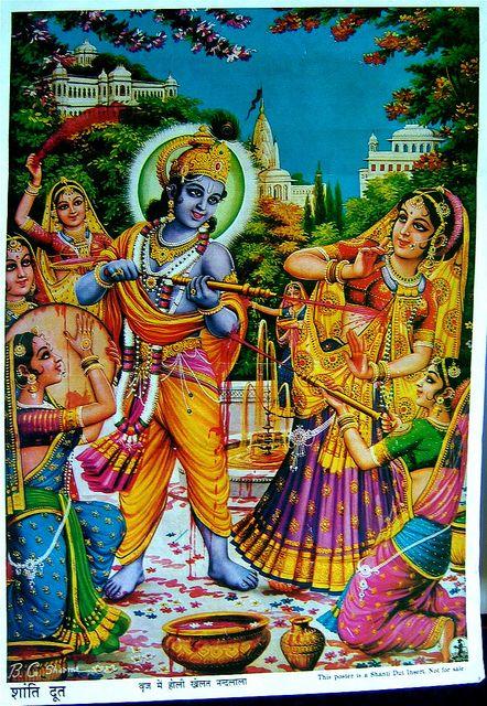 Krishna Playing Holi With The Gopis In 2020 Radha Krishna Holi