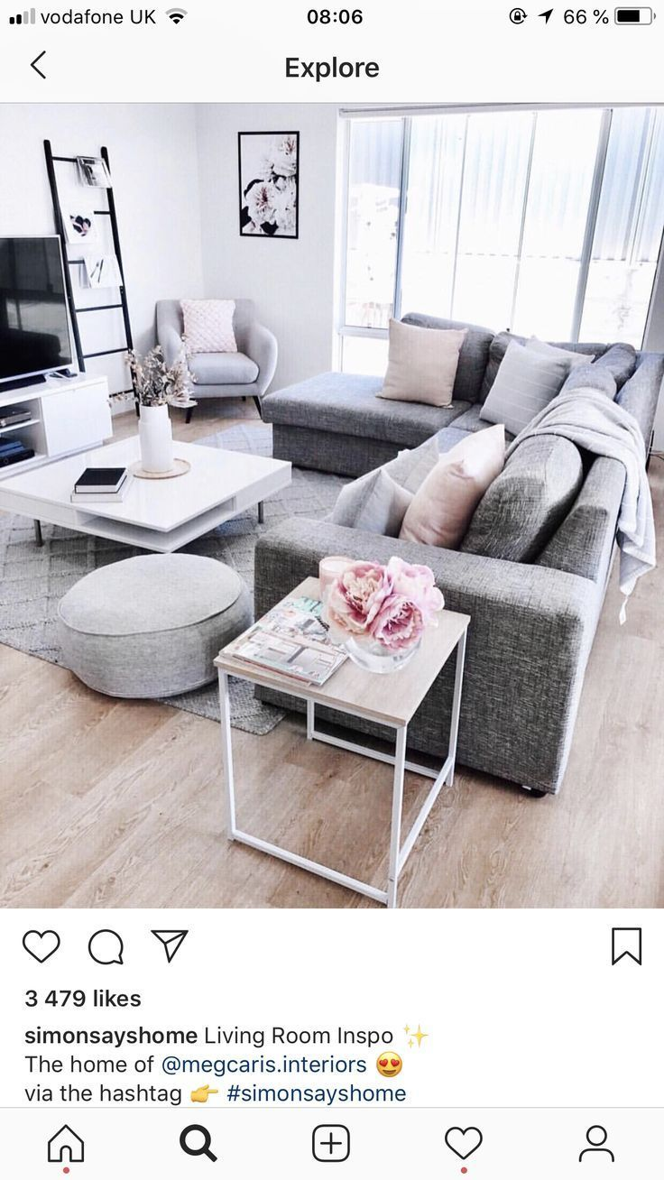 Living room with gray couch #couch #grey # living room