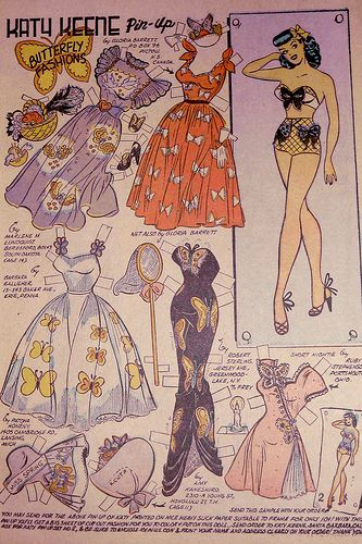 Katy Butterfly Fashions 2, Katy Keene Paper Doll Page, From Katy Keene Pin-up Parade #1 1955