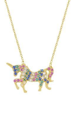 Gold Vermeil Unicorn Pendant Necklace