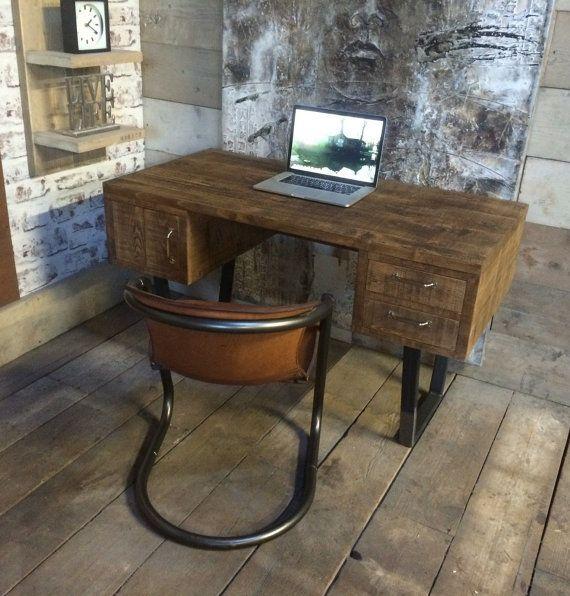 John Lewis Calia Style Vintage Industrial Reclaimed Desk Made Etsy Reclaimed Desks Industrial Interiors Vintage Industrial